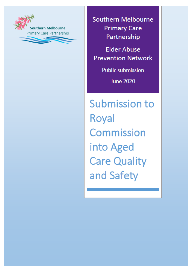 image of cover page for SMPCP submission to the Royal Commission into Aged Care Quality and Safety